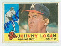 Johnny Logan AUTOGRAPH d.13 1960 Topps #205 Braves CARD IS G/VG; SL RND CRNS, BEND