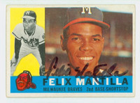 Felix Mantilla AUTOGRAPH 1960 Topps #19 Braves CARD IS VG; AUTO CLEAN