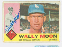 Wally Moon AUTOGRAPH 1960 Topps #5 Dodgers CARD IS F/G; RND CRNS, LT CREASES