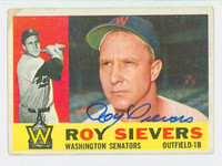 Roy Sievers AUTOGRAPH d.18 1960 Topps #25 Senators CARD IS VG; AUTO CLEAN