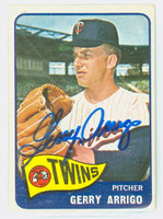 Gerry Arrigo AUTOGRAPH 1965 Topps #39 Twins CARD IS VG; AUTO CLEAN