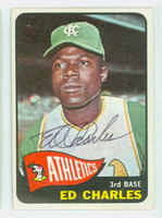 Ed Charles AUTOGRAPH 1965 Topps #35 Athletics CARD IS EX; AUTO CLEAN