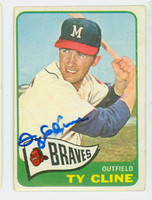 Ty Cline AUTOGRAPH 1965 Topps #63 Braves CARD IS VG/EX; AUTO CLEAN  [SKU:ClinT1492_T65BBCOM]