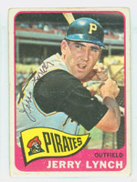 Jerry Lynch AUTOGRAPH d.12 1965 Topps #291 Pirates CARD IS G/VG; CRN WEAR, AUTO CLEAN