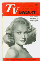 1951 TV Digest July 28 Adele Jergens of Pantomime Quiz (32 pgs) Pennsylvania State edition Good to Very Good  [Lt toning along binding; ow clean, label stamped on reverse]