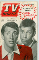 1952 TV Digest August 16 Dean Martin and Jerry Lewis (40 pgs) Pennsylvania State edition Good to Very Good  [Wear and staining on cover, contents fine; label stamped on reverse]
