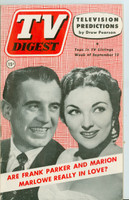 1952 TV Digest September 13 Frank Parker and Marion Marlowe (40 pgs) Philadelphia edition Very Good to Excellent  [Lt wear on cover, ow clean; label stamped on reverse]