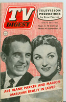 1952 TV Digest September 13 Frank Parker and Marion Marlowe (40 pgs) Pennsylvania State edition Good to Very Good  [Lt moisture on reverse cover; label stamped, contents fine]