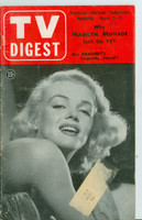 1953 TV Digest March 21 Marilyn Monroe (40 pgs) Pittsburgh edition Very Good  [Heavy cover wear along bidning, top edge frayed, contents fine]