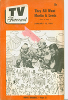 1951 TV Forecast January 13 Super Circus Clowns art: Martin and Lewis (40 pgs) Chicago edition Very Good to Excellent