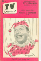1951 TV Forecast April 21 Milton Berle (40 pgs) Chicago edition Very Good to Excellent - No Mailing Label