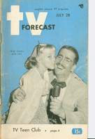 1951 TV Forecast July 28 Ernie Simon (48 pgs) Chicago edition Good to Very Good - No Mailing Label