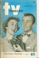 1951 TV Forecast August 25 Jackie Kelk and Pat Hosley (48 pgs) Chicago edition Fair to Good - No Mailing Label  [Heavy bend along binding, lt tearing around saples, contents fine]