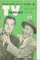 1951 TV Forecast October 6 Bob Hope and Jimmy Durante (48 pgs) Chicago edition Very Good