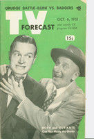 1951 TV Forecast October 6 Bob Hope and Jimmy Durante (48 pg) Chicago edition Very Good