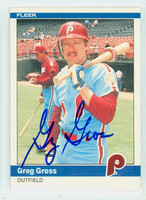 Greg Gross AUTOGRAPH 1984 Fleer #31 Phillies 