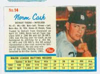 1962 Post Baseball 14 b Norm Cash THR LEFT  Detroit Tigers Excellent to Mint