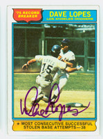 Dave Lopes HL AUTOGRAPH 1976 Topps HR Leader #4 Dodgers 