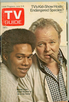 1973 TV Guide June 2 Carroll O'Connor and Michael Evans of All in the Family Eastern New England edition Very Good to Excellent - No Mailing Label  [Sl loose at staples, scuffing and toning on cover; contents fine]