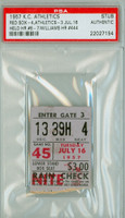1957 Kansas City Athletics Ticket Stub vs Boston Red Sox Ted Williams HR #444 - July 16, 1957 PSA/DNA Authentic Slabbed