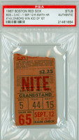 1967 Boston Red Sox - Impossible Dream AL Champs Ticket Stub vs Kansas City Athletics Jim Lonborg Win #20 of 1967 - September 12, 1967 PSA/DNA Authentic Slabbed