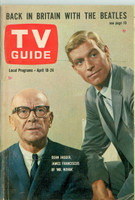 1964 TV Guide Apr 18 Mr. Novak (Beatles feature) Chicago edition Very Good - No Mailing Label  [Sl loose at staples, wear along binding, scuffing on cover, contents fine]