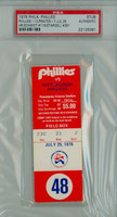1976 Philadelphia Phillies Ticket Stub vs Pittsburgh Pirates Mike Schmidt HR #119 Willie Stargell HR #381  - July 25 1976 PSA/DNA Authentic