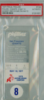 1977 Philadelphia Phillies Ticket Stub vs San Francisco Giants Mike Schmidt HR #137 Steve Carlton Win #172  - May 10 1977 PSA/DNA Authentic