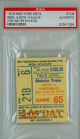 1979 New York Mets Ticket Stub vs Cincinnati Reds Tom Seaver Career Win #232 - August 26, 1979 PSA/DNA Authentic