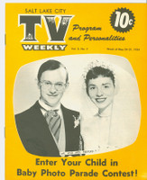 1954 TV Weekly May 24 Wally Cox and Patricia Benoit of Mr Peepers (16 pages) Salt Lake City edition Very Good - No Mailing Label  [Front cover near-mint, reverse cover has minor moisture; contents fine]