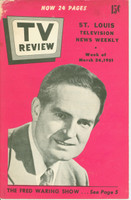1951 TV Review March 24 Fred Waring (24 pg) St. Louis edition Fair to Good - No Mailing Label  [Pg 17-18 has severge cut-outs, staining and heavy wear on cover; listings fine]