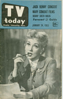 1953 TV TODAY January 24 Ann Southern (32 pg) Detroit edition Good to Very Good - No Mailing Label  [Heavy wear on both covers, stray WRT on reverse; contents fine]