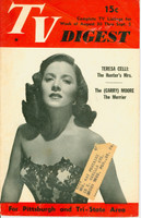 1952 TV DIGEST August 30 Teresa Celli (32 pgs) Pittsburgh edition Good to Very Good  [Heavy wear and creasing on cover; contents fine]