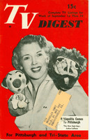 1952 TV DIGEST September 13 Kukla, Fran and Ollie (32 pgs) Pittsburgh edition Good to Very Good  [Lt wear, small clip indention on cover; back cover torn; contents fine]