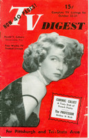 1952 TV DIGEST October 25 Corinne Calvet (40 pgs) Pittsburgh edition Fair to Poor - No Mailing Label  [Back Cover MISSING; Wear and creasing on cover; contents fine]