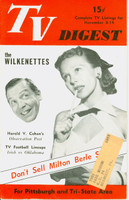 1952 TV DIGEST November 8 Milton Berle and girl (40 pgs) Pittsburgh edition Very Good to Excellent  [Lt wear on cover, ow clean]