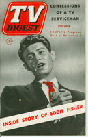 1952 TV Digest November 8 Eddie Fisher (44 pages) Pennsylvania State edition Good to Very Good  [Wear on both covers, lt creasing, contents fine]