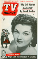 1952 TV DIGEST December 6 Marion Marlowe (44 pg) Philadelphia edition Excellent  [Lt wear on cover, contents fine]