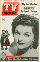 1952 TV DIGEST December 6 Marion Marlowe (44 pg) Pennsylvania State edition Very Good  [Lt toning and staining on cover; contents fine]