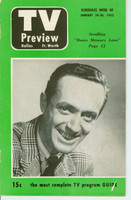 1953 TV PREVIEW January 24 Jimmy Livingston (24 pg) Dallas-Forth Worth edition Good to Very Good - No Mailing Label  [Lt moisture on first few pgs, contents fine]