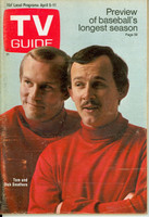 1969 TV Guide Apr 5 The Smothers Brothers Eastern Illinois edition Excellent - No Mailing Label  [Lt scuffing along binding; contents fine]