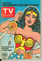 1977 TV Guide Jan 29 Wonder Woman (Classic Cover) Central Ohio edition Very Good - No Mailing Label  [Sl loose at staples, tearing along binding; contents fine]
