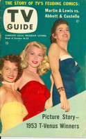 1953 TV Guide Oct 16 Beauty Contest Winners (Angie Dickinson) Chicago edition Excellent - No Mailing Label  [Wear and creasing on both covers; ow clean]