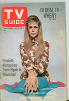 1968 TV Guide Jan 27 Elizabeth Montgomery of Bewitched St. Louis edition Very Good  [Lt moisture on cover, label removed; contents fine]