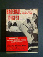 1961 Baseball Digest September Whitey Ford Very Good to Excellent