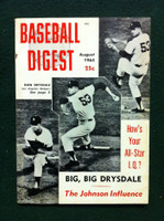 1965 Baseball Digest August Don Drysdale Very Good to Excellent