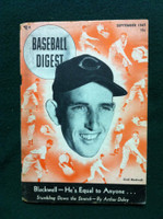 1947 Baseball Digest September Ewell Blackwell (Binding split) Fair to Poor