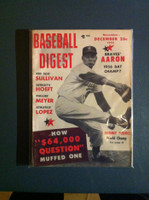 1955 Baseball Digest November Johnny Podres Near-Mint