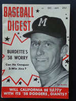 1958 Baseball Digest January Lew Burdette Fair to Good