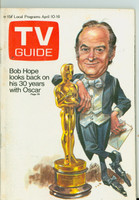 1971 TV Guide April 10 Bob Hope Hosts the Oscars St. Louis edition Very Good to Excellent - No Mailing Label  [Sl loose at the staples, toning on cover, contents fine]